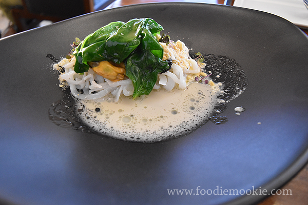 Gerard's Bistro Menu - Confit southern squid, mussels, hazelnut milk, warrigal greens, kishk